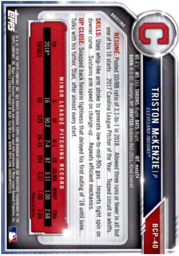 2019 Bowman Chrome Prospects #BCP-40 Triston McKenzie Cleveland Indians Baseball Card