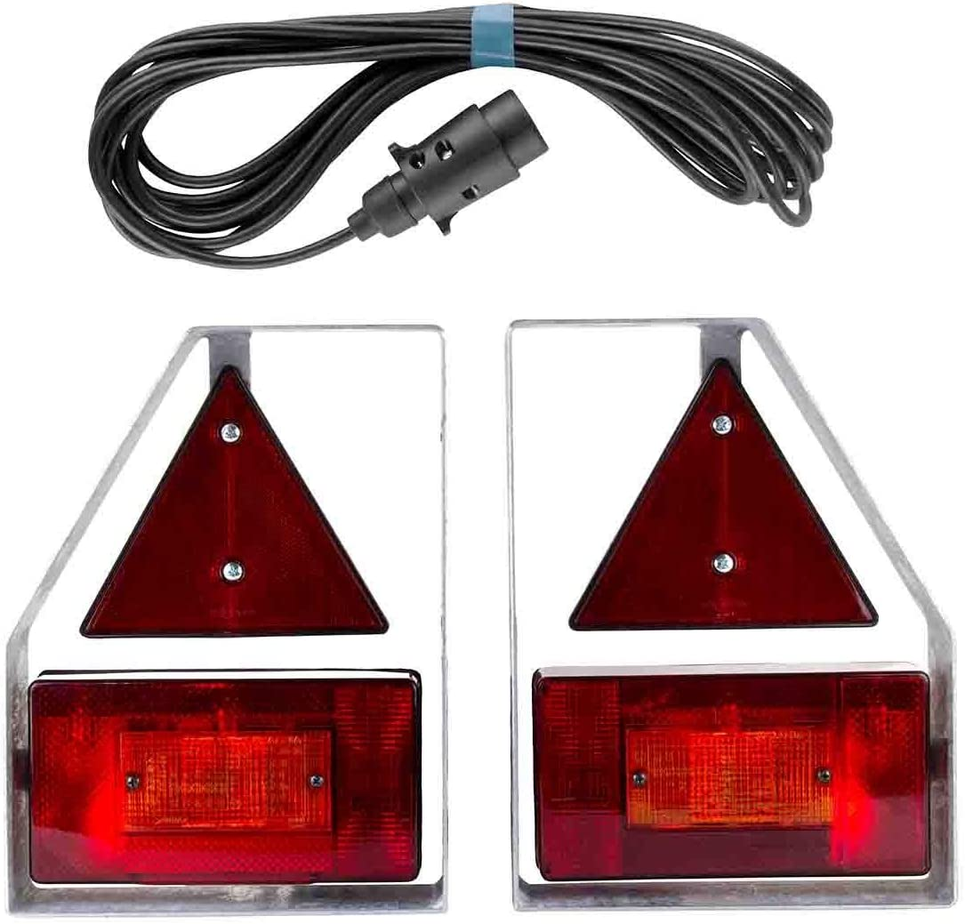 XL Version Bremslicht Anh/änger Beleuchtung Set R/ückleuchten Anh/ängerbeleuchtung mit Metallhalterung mit Metall Halterung 7 Pol Stecker verzinkt R/ückleuchte Anh/ängerbeleuchtung