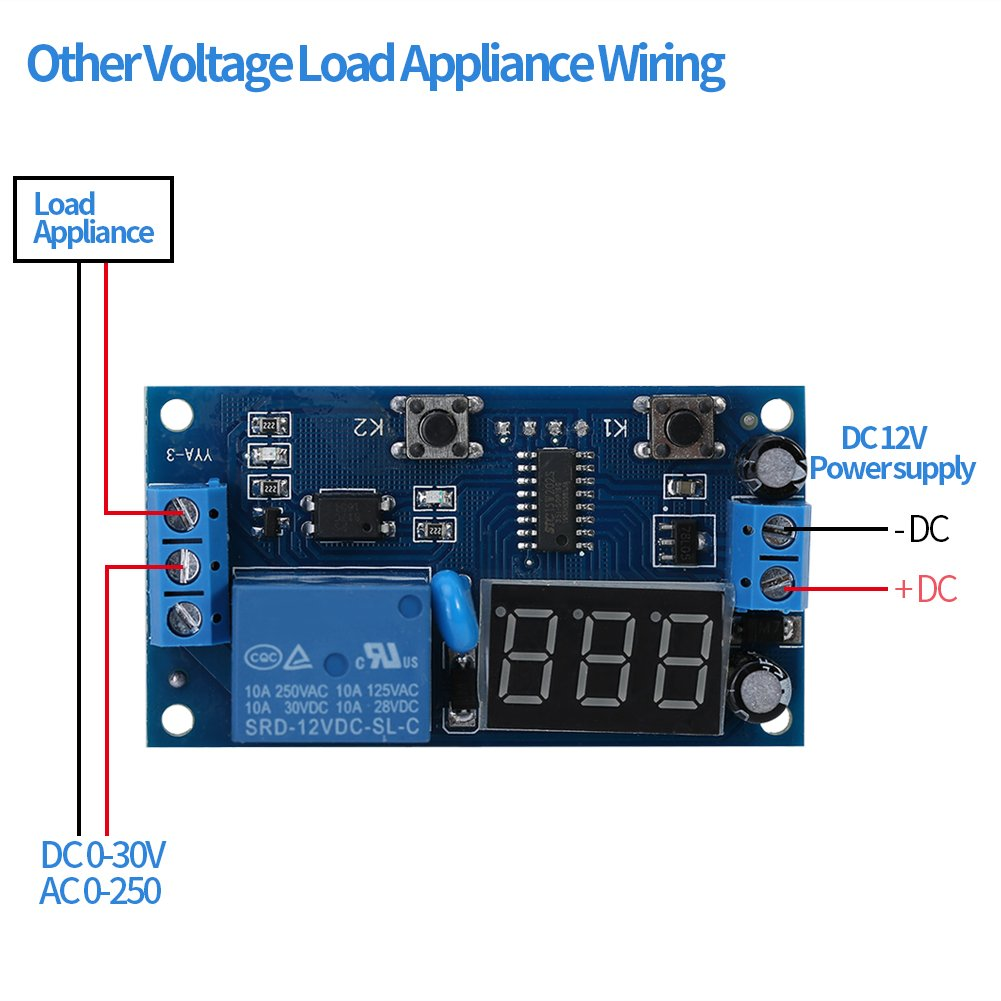 DC 12V Infinite Cycle Delay Timing Timer Relay ON OFF Switch Loop Module with LED Display Walfront