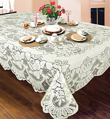 DINY American Bone Lace Emilia Tablecloth Machine Washable Ideal For Formal Dinner Parties (60' x 84