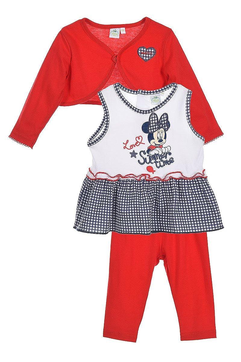 Ensemble 3 pièces gilet top et legging en coton bébé fille Minnie 22839