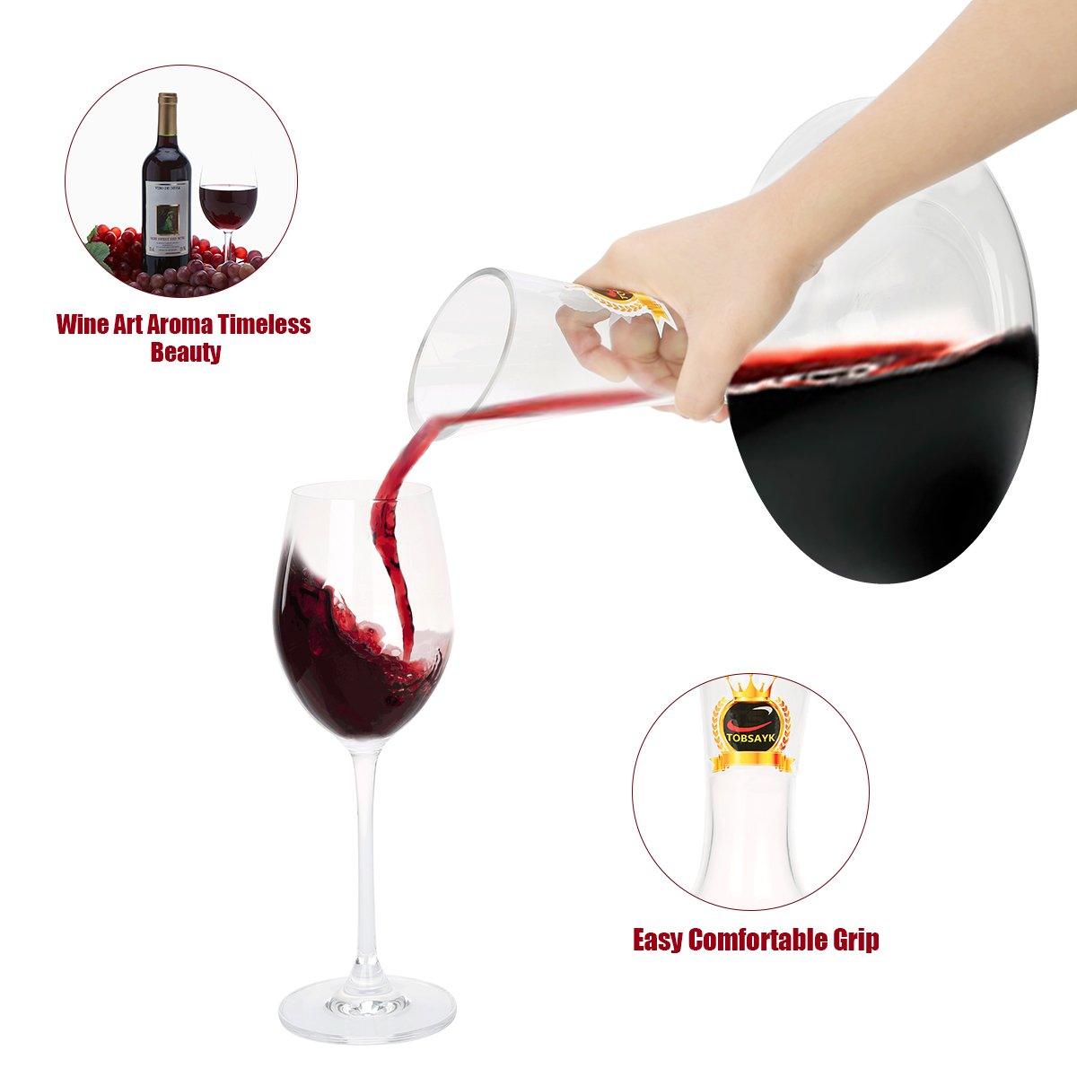 TOBSAYK Wine Decanters with Drying Stand Wine Accessories Perfect for Drinker//Wine Lovers 1800ML Wine Carafe Hand Blown 100/% Lead-Free Crystal Glass Decanting Aerator Wine Gift