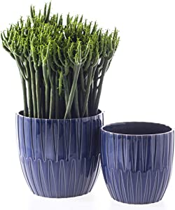 "Voeveca Ceramic Flower Pot Garden Planters 6.7"" and 5.5"" Set of 2 Indoor Outdoor, Modern Nordic Style Plant Containers (Blue)"