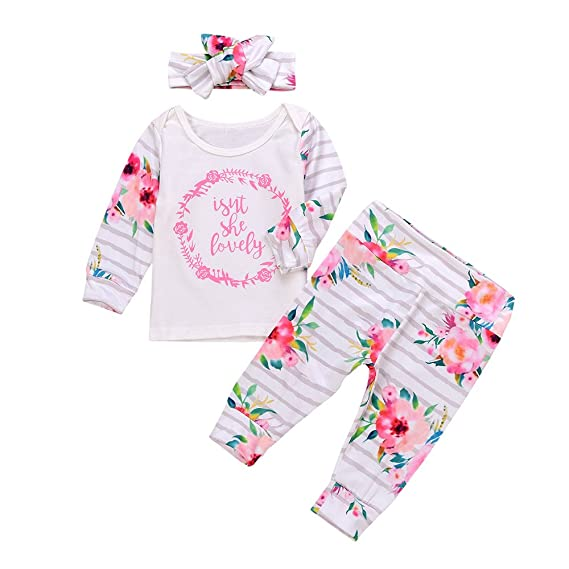Fossen 3 Piezas 0 a 18 Meses Bebe Niña Floral Camiseta de Mangas Largo y Pantalones con Diadema Recien Nacido Conjunto de Ropa Otoño Invierno