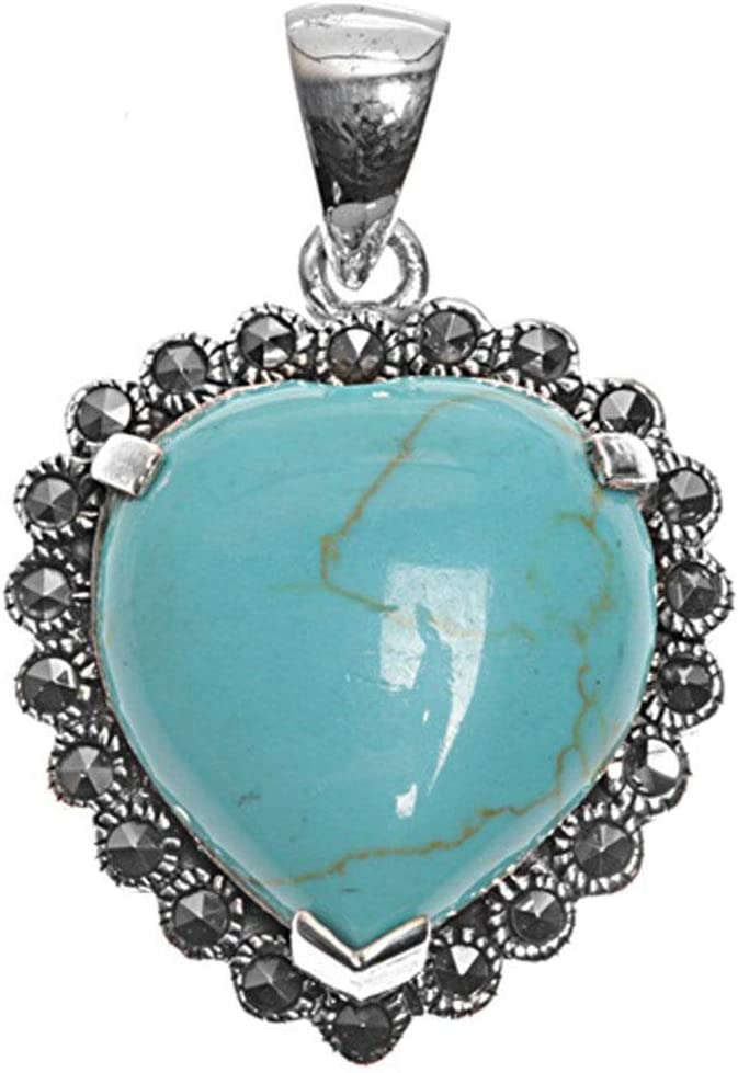 925 Sterling Silver Marcasite Turquoise Heart Pendant Necklace High Quality