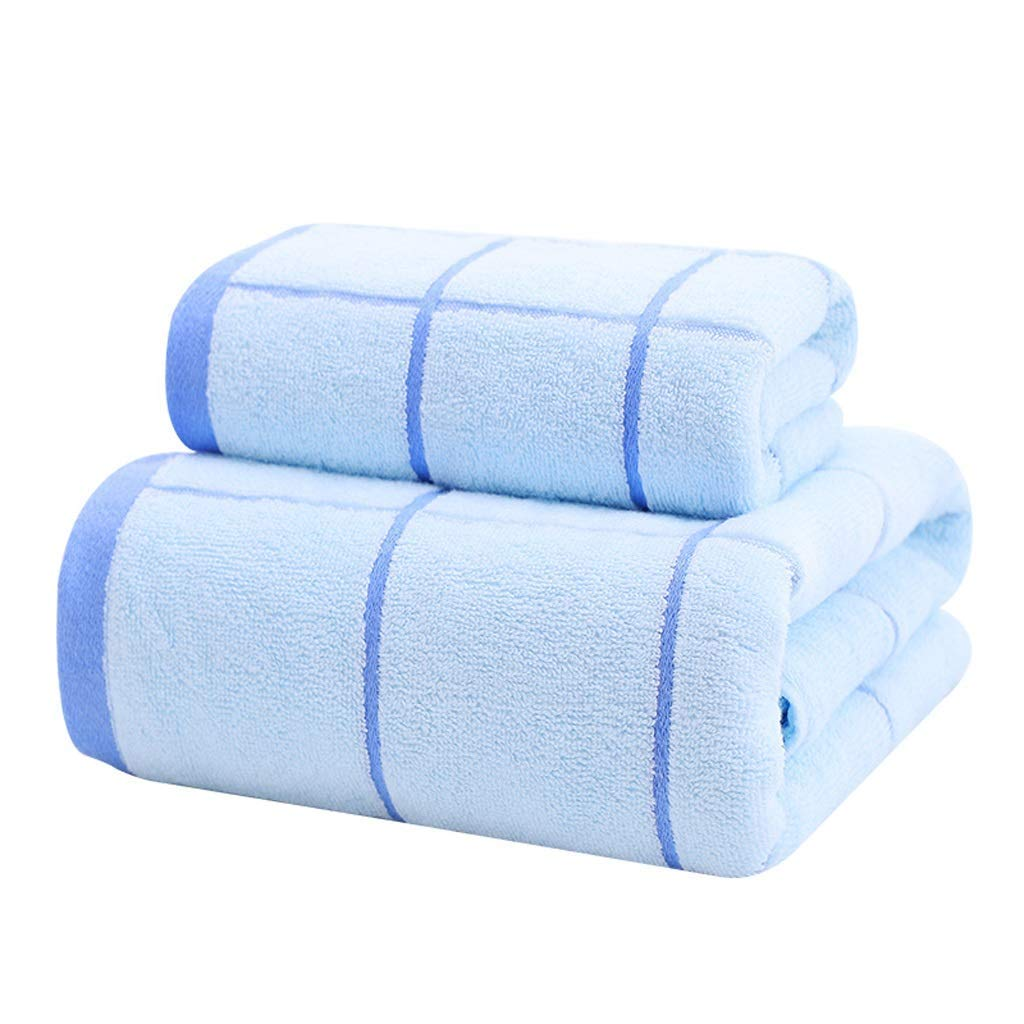 Bdfjhoiugk Four Piece Set Males and Females Couple Cotton Soft Water Absorption Kids Towel Set (Color: Light Blue) (Color : Hellblau, Size : -)