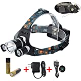 BORUiT RJ-5000 Super Bright Headlamp LM 3 x Cree XML-L2 4 Modes 5000Lumens Rechargeable LED Headlamp Headlight Comfortable Wearing Head Light for Camping/Biking/Hunting/Fishing/Walking