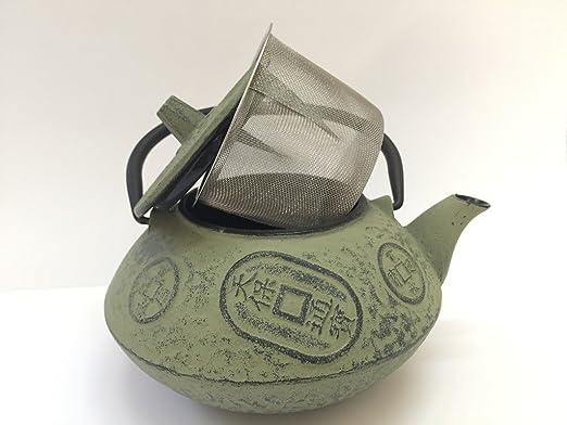 Tetera de hierro colado con filtro japonesa - capacidad 0.8 litros y color crema - teteras para vitroceramica, inducción y gas - tetera de metal ...