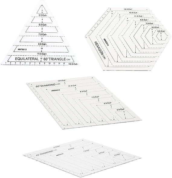 Plantilla Diamond Diamante Hex/ágono Plantilla Patchwork Quilt Regla 15.5 Cut-Hexagon