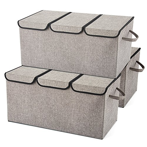 EZOWare Extra Large [3-Pack] Linen Fabric Foldable Storage Cubes Bin Box Containers with Lid and Handles - Light Gray for Home, Office, Nursery, Closet, Bedroom, Living Room (24x12x12inch) ()
