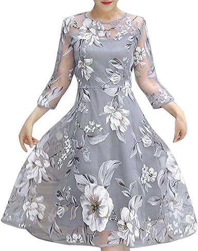 Overdose Vestido De CóCtel del Vestido De Fiesta del Baile De Fin De Curso De La Fiesta De La Boda del Estampado Floral De Organza del Verano De Las Mujeres: Amazon.es: Ropa
