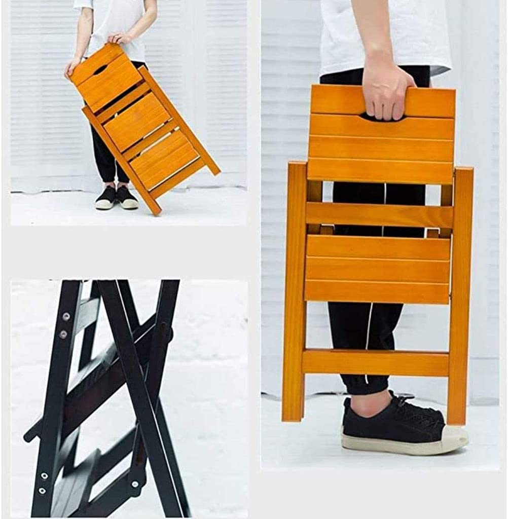 JIANGPENG Household Solid Wood Three-step Stool Folding Step Stool Multifunctional Decoration Flower Stand Shoe Rack Multifunctional Non-slip Step Stool D
