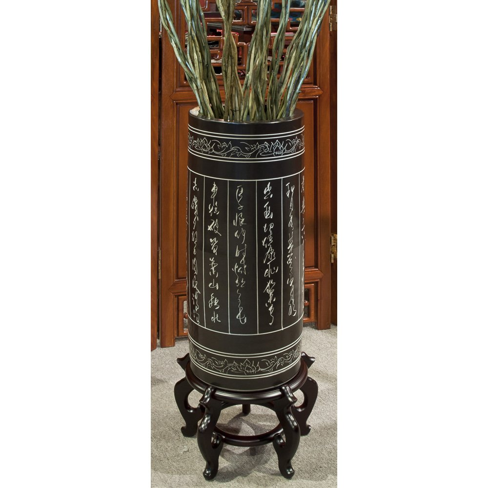 China Furniture Online Ceramic Umbrella Stand, Zen Calligraphy Motif 22 Inches High Black and White