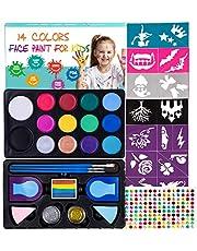 Maydear Kit de Pintura Facial para niños, 14 Pinturas Grandes, 2 tizas para el Cabello, 2 Brillos no tóxicos, Paleta Profesional de Pintura Facial, Kit de Maquillaje de Halloween