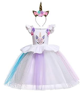 Le - SSara Traje de Unicornio Vestido de cumpleaños de Arco Iris Vestidos de Noche de Flores Tutu Vestido (100, E79)