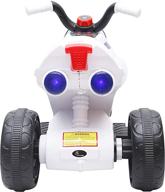 R For Rabbit Apollo Electric Bike for Kids - Stylish Spaceship Inspired Plug N Play Battery Operated Ride On Bike with Music 2 to 5 Years (White)