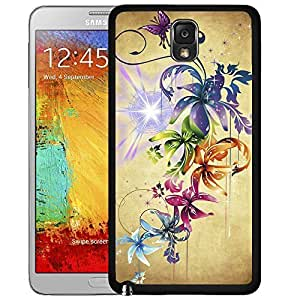 Rainbow Colored Flowers And Stardust Hard Plastic Snap On Cell Phone Case Samsung Galaxy Note 3 III N9000 N9002 N9005