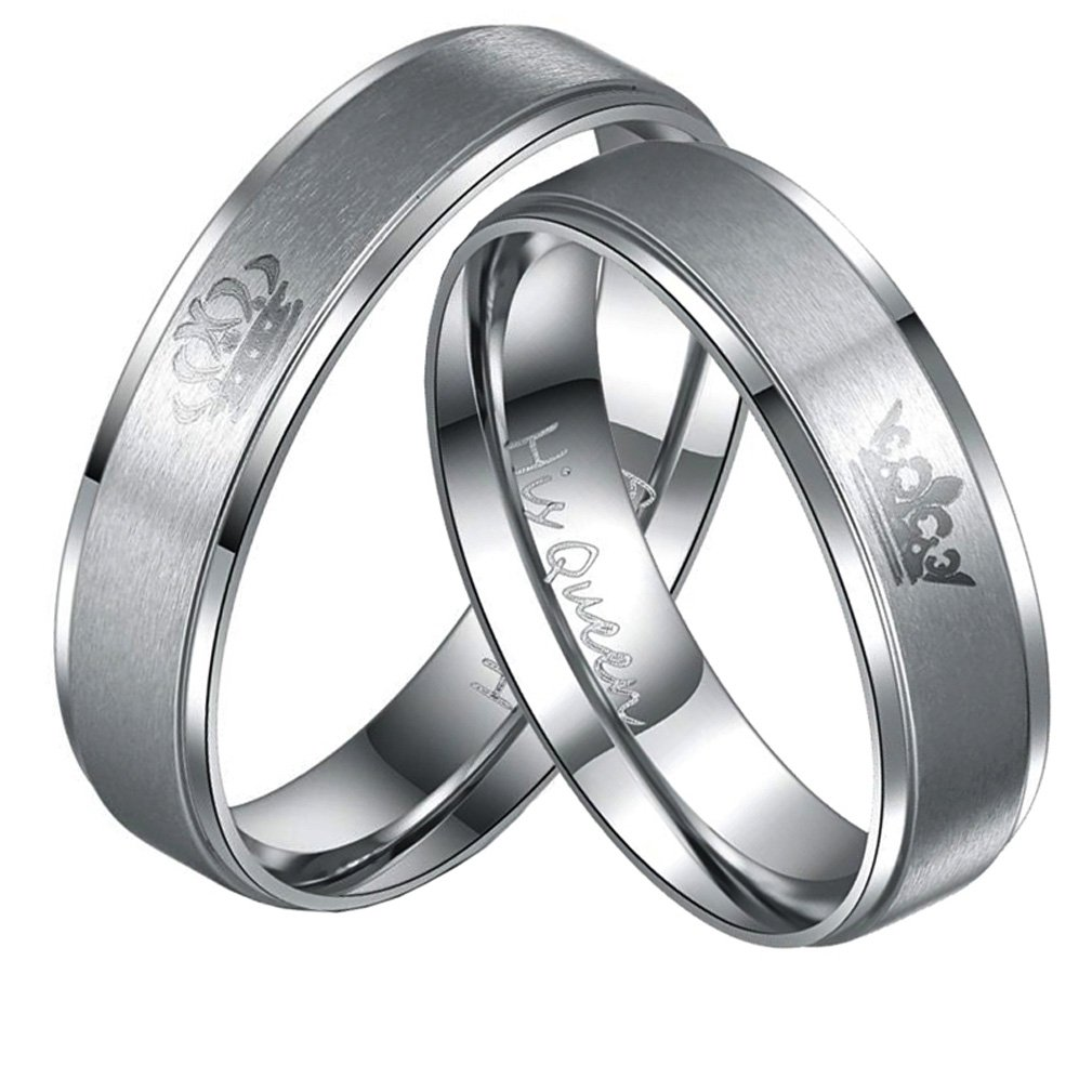 Stainless Steel Couples Ring His & Hers Real Love Heart Engraved His King Her Queen Promise Ring Wedding 4EAELove