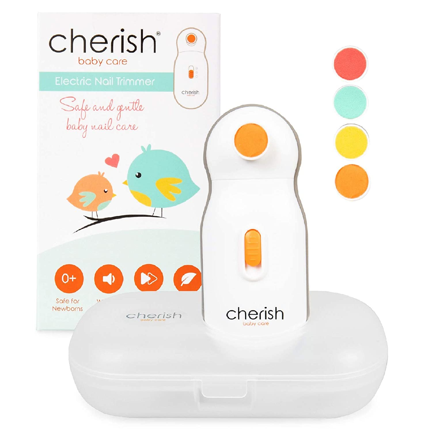 Replacement Filing Pads for Cherish Baby Care Electric Baby Nail Trimmer - Includes 4 Filing Discs for Newborn to Toddler