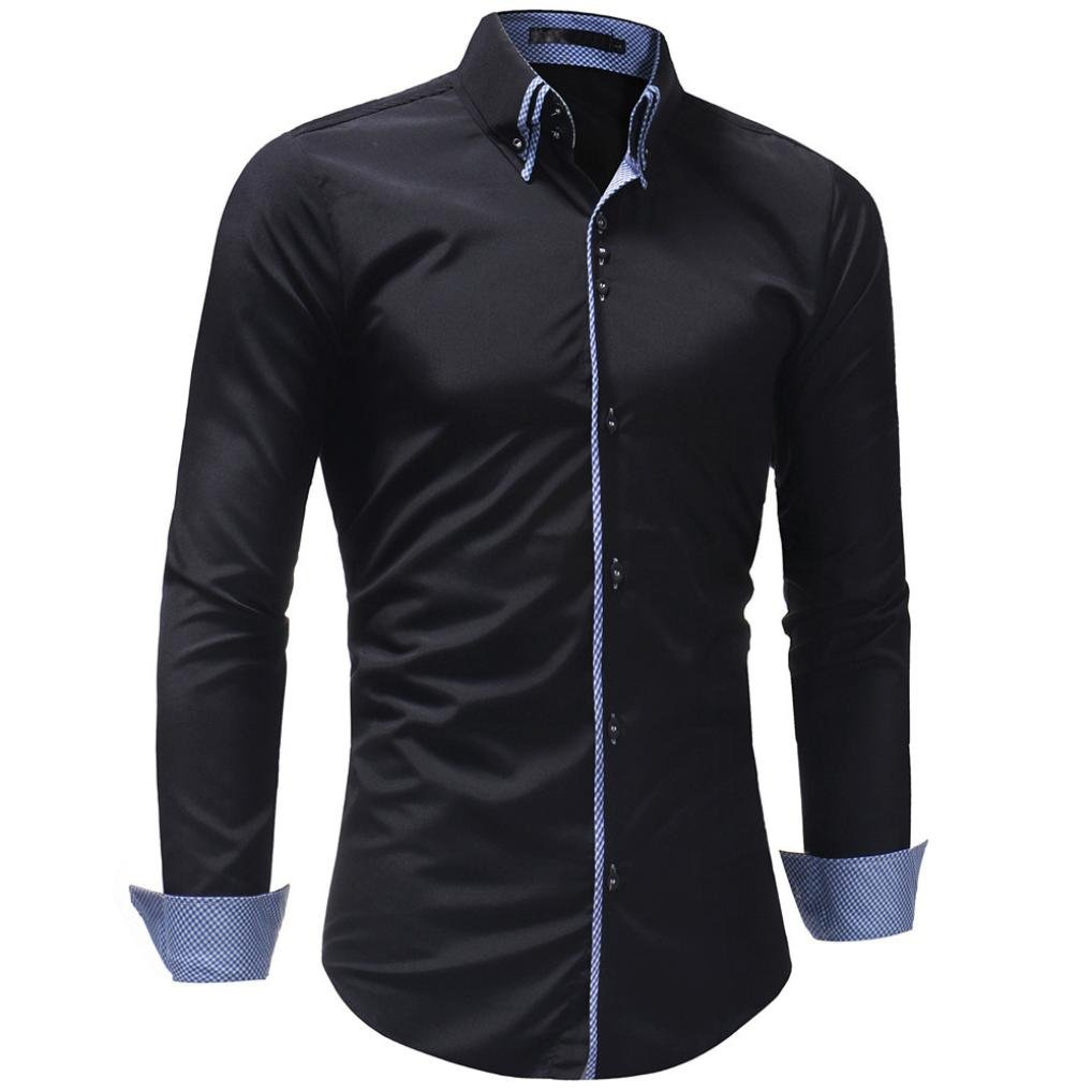 Ximandi Men's Autumn Casual Slim Fit Long Sleeve Polyester Turn-Down Collar Shirt