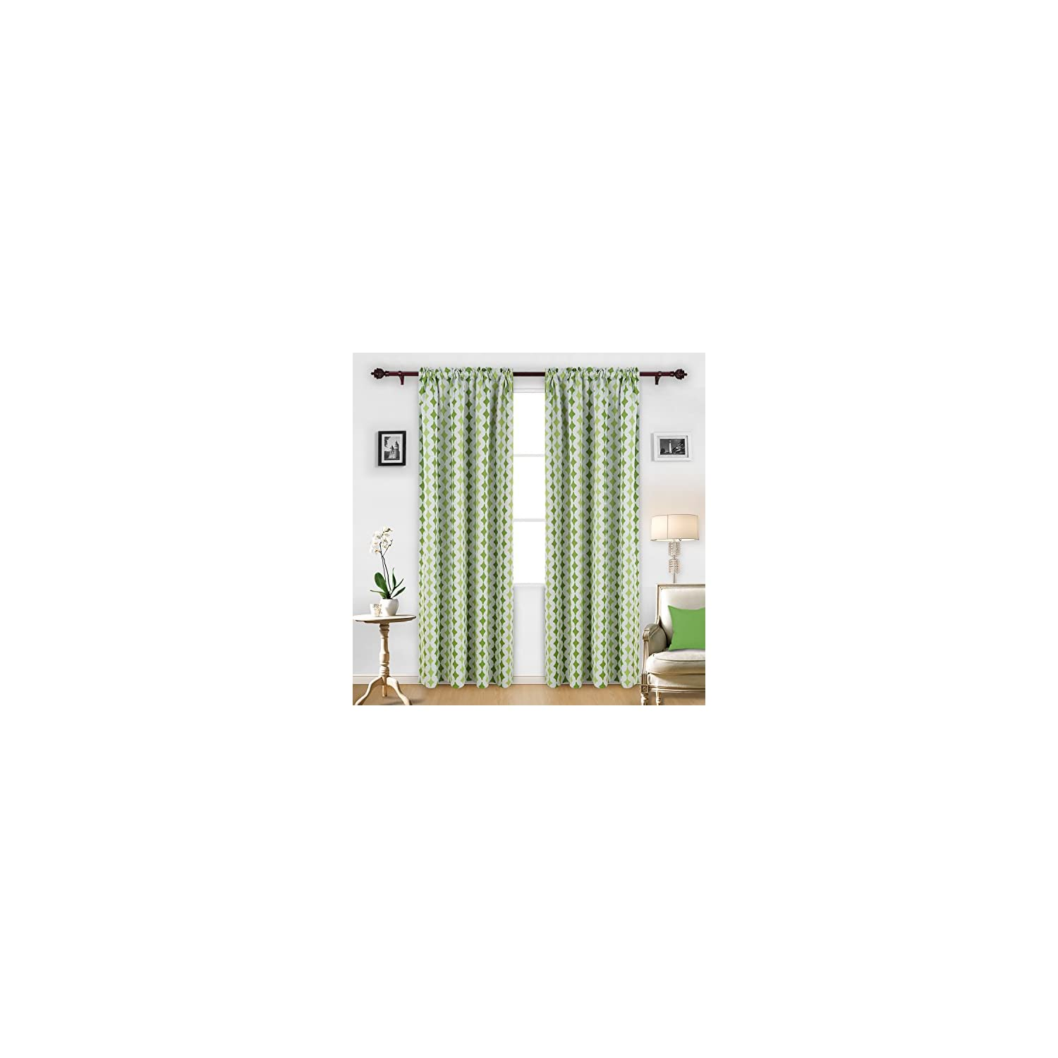 Deconovo Pattern Rod Pocket Blackout Curtains Window Treatment Panels for Bedroom, 52×95 Inch, Green