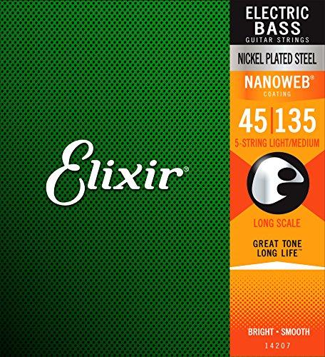 Elixir Strings Nickel Plated Steel 5-String Bass Strings w NANOWEB Coating, Long Scale, Light/Medium (.045-.135) by Elixir Strings