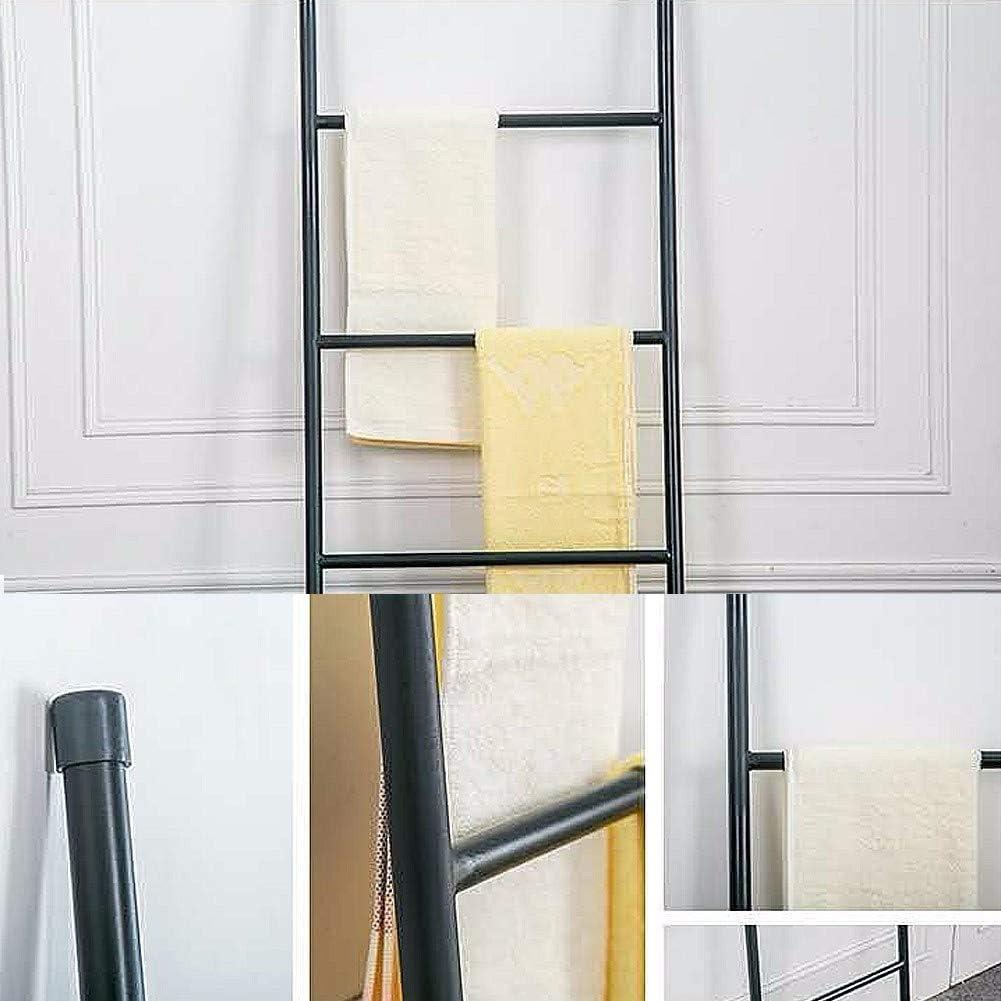 Super Eleganter Dekoleiter f/ür Badezimmer Wohnzimmerblack Handtuchhalter Freistehend Schwarz mit 6 Sprossen Kleiderleiter Handtuchleiter Metall