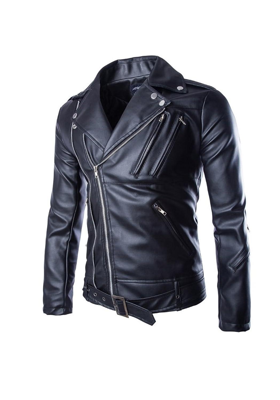 JKQA Mens Causal Belted Design Slim Pu Leather Biker Zipper Jacket Coat