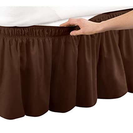 9d31ffe2e7 Amazon.com: Collections Etc Wrap Around Bed Skirt, Easy Fit Elastic Dust  Ruffle, Brown, Queen/King: Home & Kitchen