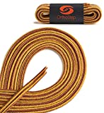 OrthoStep Thin Round Athletic Nylon Gold - Tan Combo 54 inch Shoelaces - Fused Tips - Work Boot Laces 2 Pair Pack