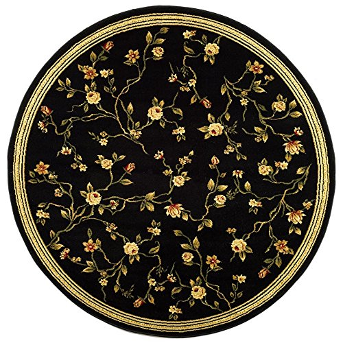 Safavieh Lyndhurst Collection LNH220A Traditional Floral Black Round Area Rug (5'3
