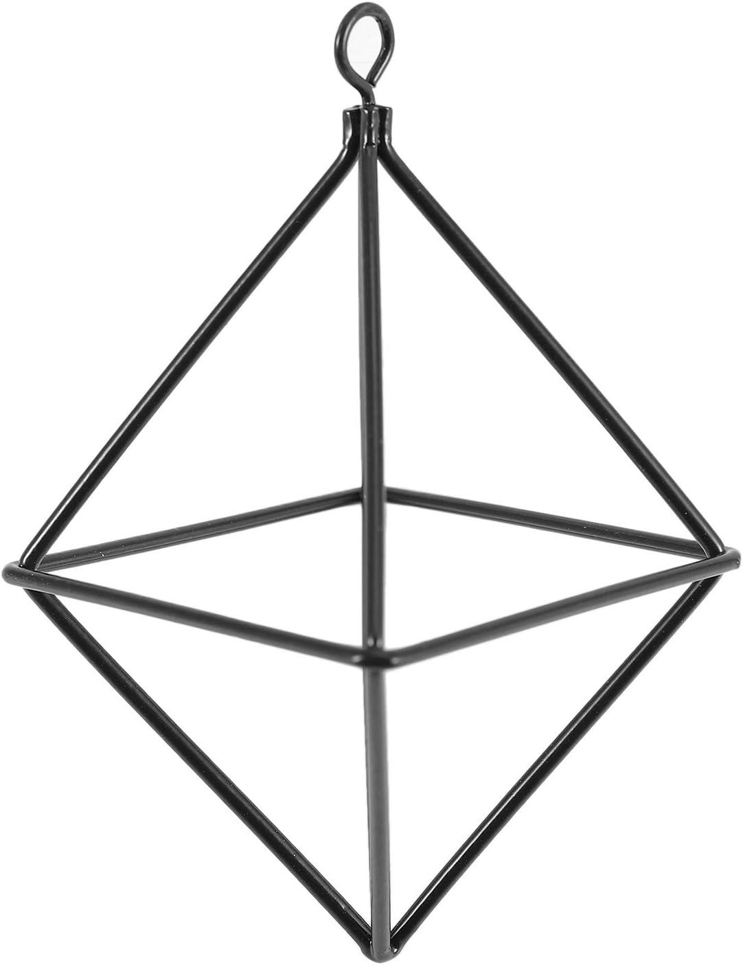 Andifany Jardineras Colgantes Independientes Columpio GeoméTrico Hierro Forjado Tillandsia Soporte de Plantas de Aire Bastidor de Metal con Forma Triangular Negro