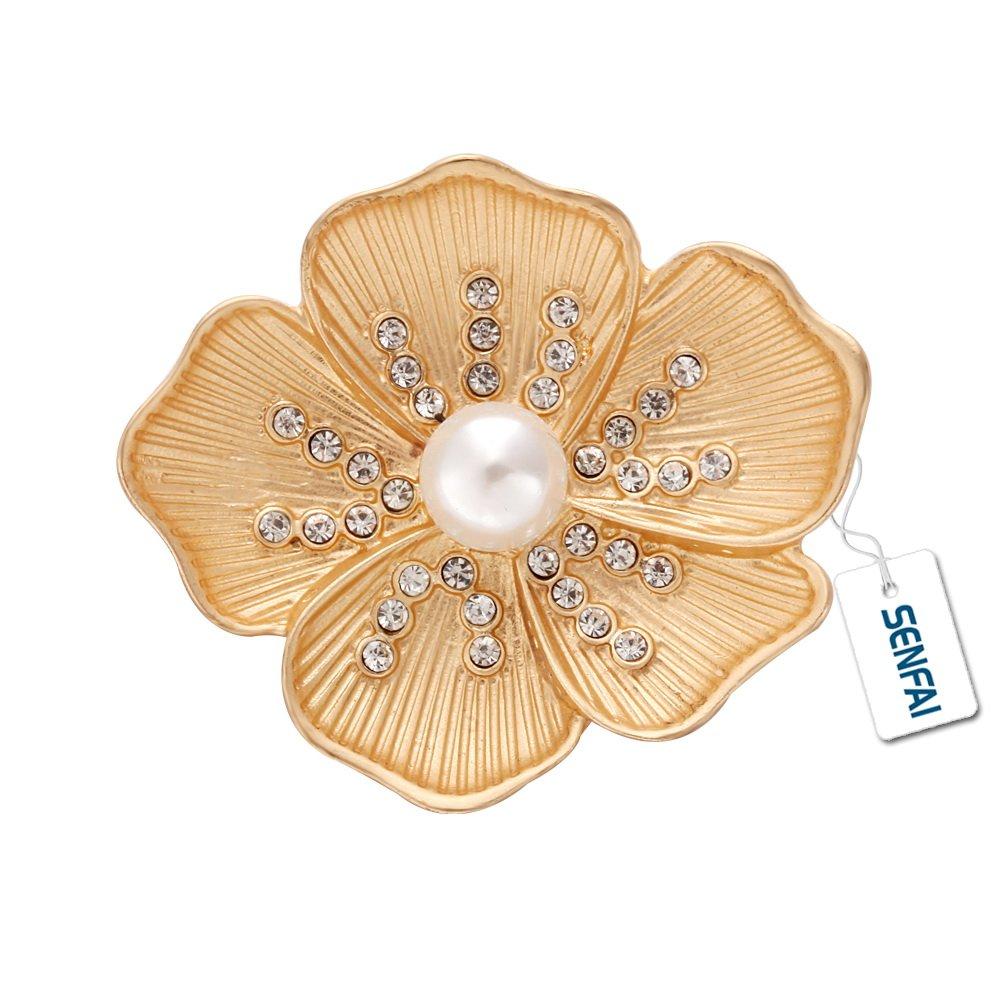 SENFAI Crystal Poppy Flower Pearl Wedding Dress Brooch Womens Gift Jewelry (Gold)