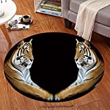 sophiehome Soft Carpet 286319789 Twin beautiful tiger face to face isolated on black background Anti-skid Carpet Round 24 inches