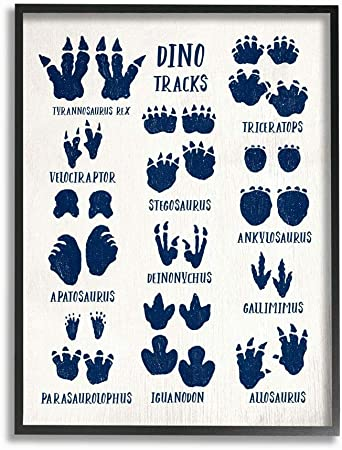 Stupell Industries Dinosaur Crossing Blue Kids Word 11 x 1.5 x 14 Design by Artist Daphne Polselli Wall Art Black Framed