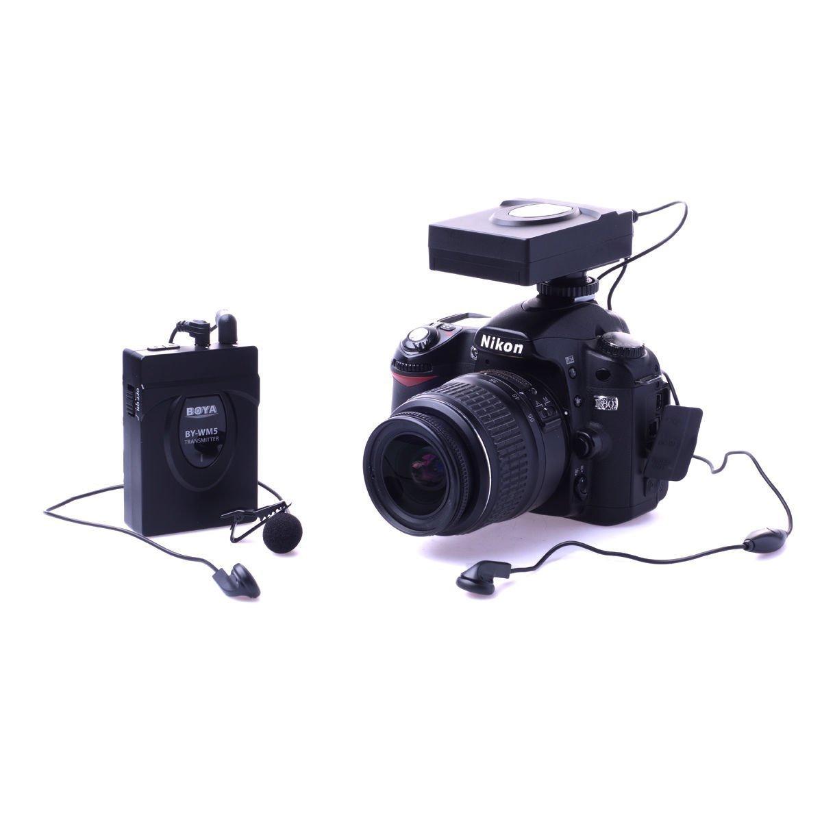 Wireless Lavalier Microphone-BOYA BY-WM5 2.4GHz System LapelMic for Canon Nikon Sony DSLR Camera Camcorder Audio Recorder DV by BOYA