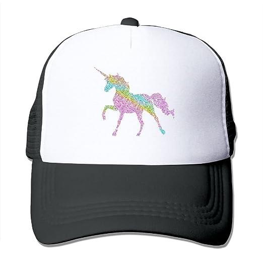 3f9b3737e48 Amazon.com  Adult Sparkly Rainbow Unicorn Print New Style Mesh Cap ...