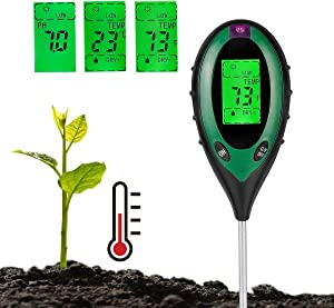 Soil Tester Moisture 4-in-1 Meter PH Levels Temperature Sunlight Lux Intensity Measuring Tool LCD Display for Garden Farm Lawn Indoor Outdoor Plant, Green