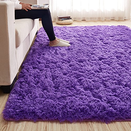 Height Living Room - MAXYOYO 3.5 cm Height Solid Color Large Fluffy Shaggy Area Rug Anti-Skid Carpet, Ultra Soft Easy Care Rug for Bedroom/Living Room, 79 by 102 Inch