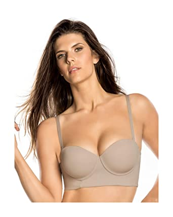 555a256b0 Leonisa Strapless Longline Slimming Bra for Women with Back and Side  Smoothing and Light Push Up