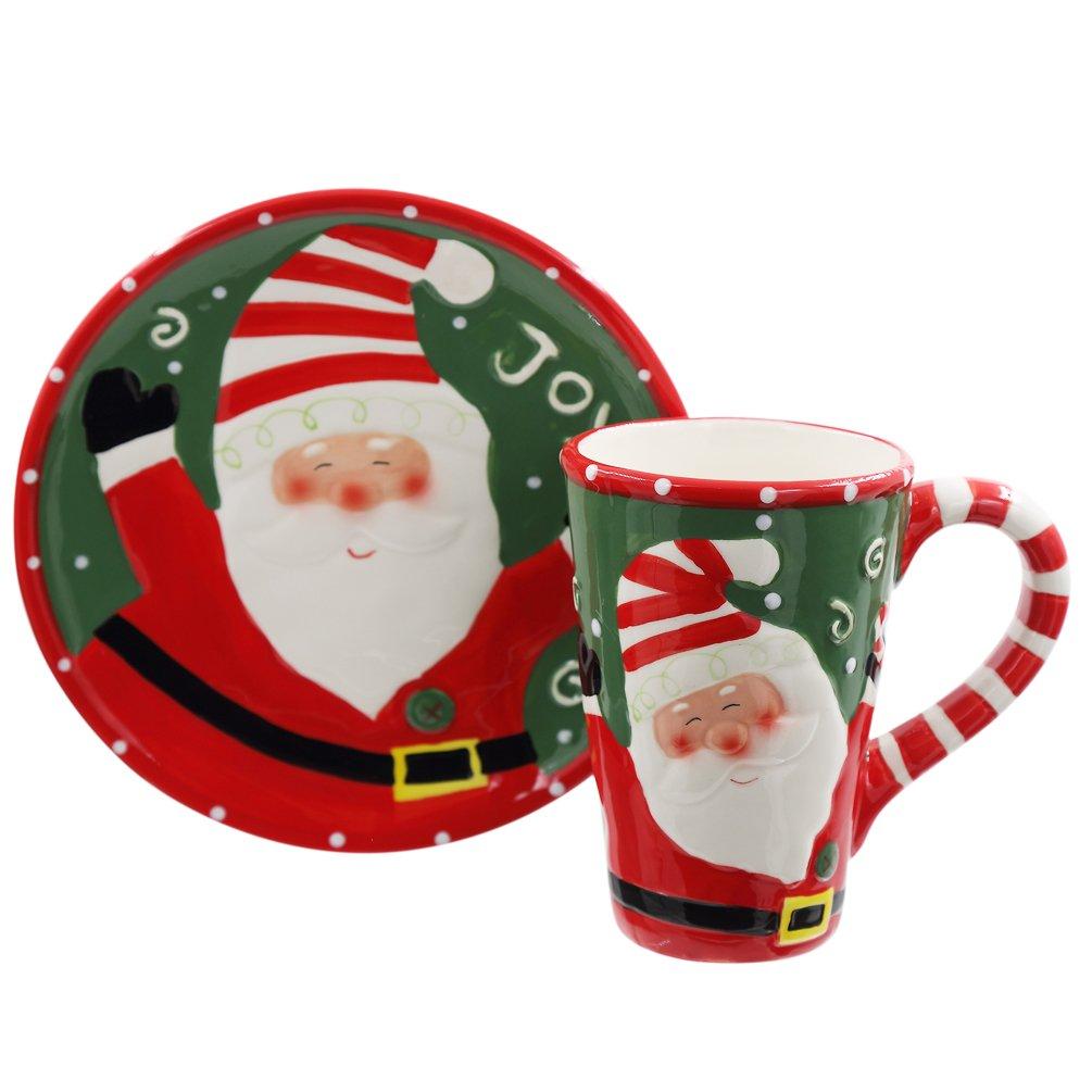 CEDAR HOME 18 oz Caramic Mug and Coaster Set with Gift Box (Santa)