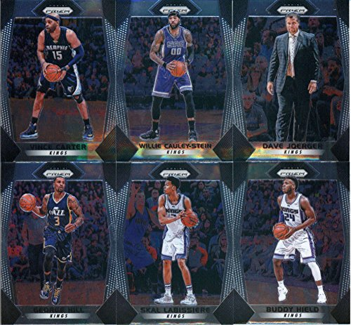 2017-18 Panini Prizm Basketball Complete Sacramento Kings Team Set of 10 Cards which includes: Buddy Hield(#21), Skal Labissiere(#22), George Hill(#23), De'Aaron Fox(#24), Vince Carter(#25), Frank Mason III(#26), Justin Jackson(#27), Harry Giles(#28), Willie Cauley-Stein(#29), Dave Joerger(#30)