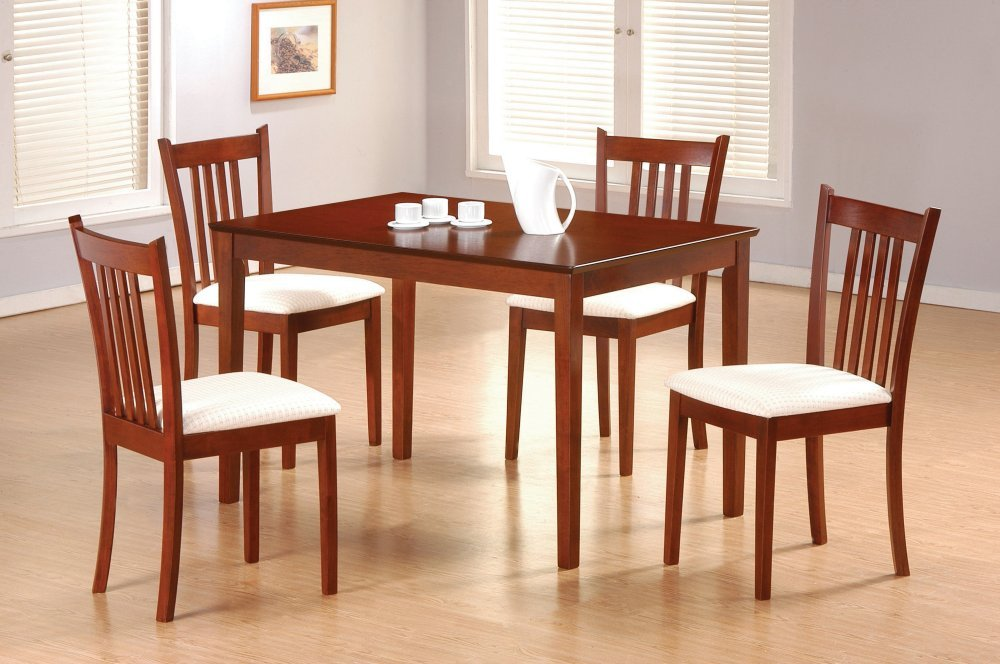 Amazon Com Rich Tobacco Finish 5 Piece Dining Set By Coaster