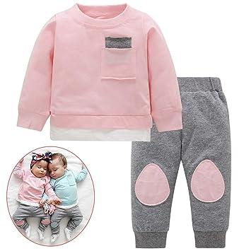 Niña niño bebé niño otoño color a juego parche traje ropa traje ...