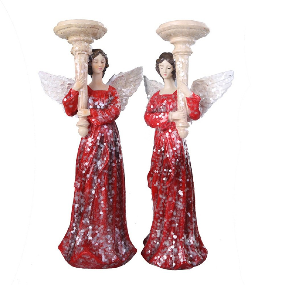 Players 2 PCS Angel Statue Vintage Angel Figurines Candle Holder Christmas Angel Decorations Candle Stick Holder Christmas Angel Candlestick Decorations Resin Angel Candle Mold Decoration by