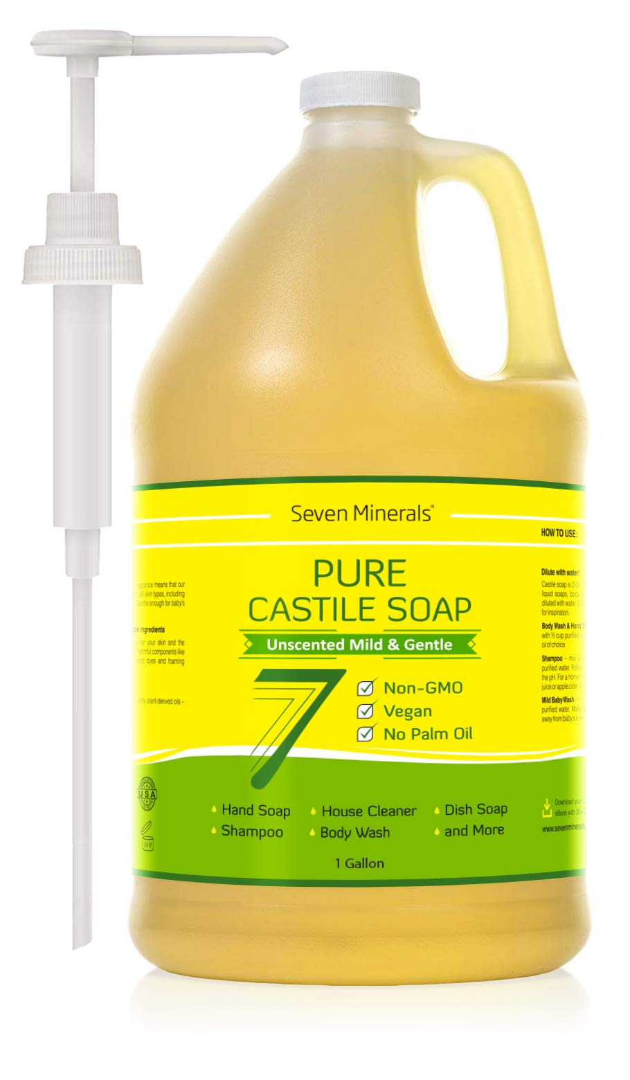 Pure Castile Soap - 1 Gallon - No Palm Oil - Unscented Mild & Gentle Liquid Soap For Sensitive Skin, Baby Wash & Your Own DIY Recipes - All Natural, Non GMO & Vegan Formula with Organic Carrier Oils