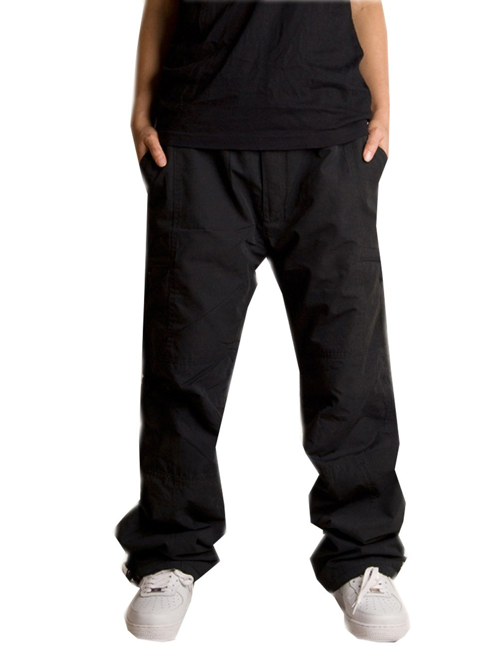 METERDE Men's Cargo Pocket Relax Fit Lined Winter Casual Sports Pants Black XL