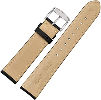WOCCI 14mm Watch Band - Vintage Leather Watch Strap Black ...