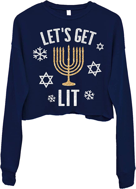 NoBull Woman Apparel Lets Get Lit Cropped Hanukkah Sweater for Women