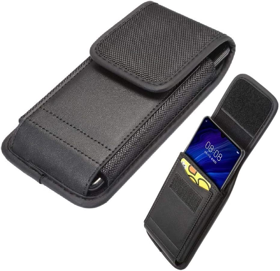 DFV mobile - Belt Case Cover Vertical with Card Holder Leather & Nylon for Xiaomi Mi4 LTE, Mi 4 LTE - Black